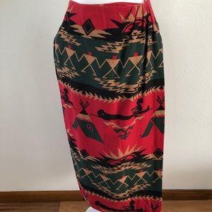 Cambridge Dry Goods wrap skirt sz 6 tribal design